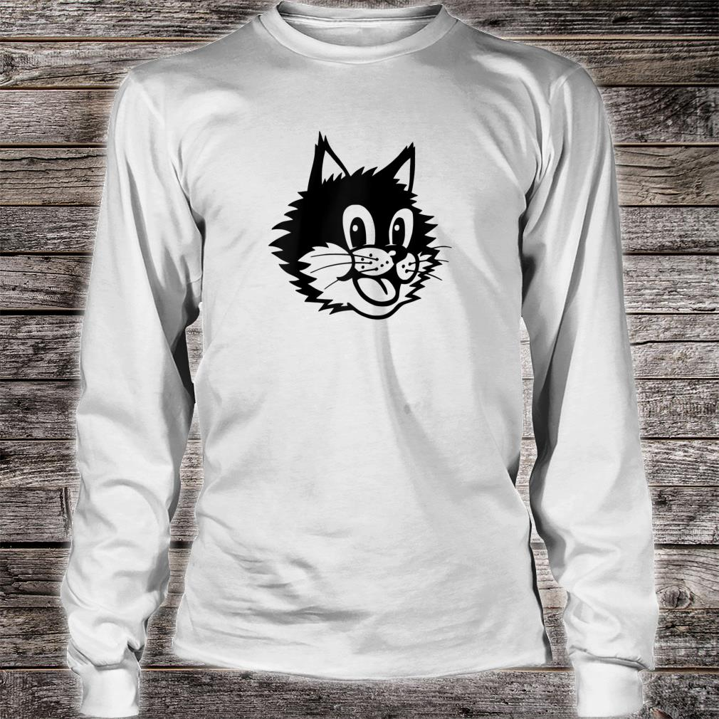 Funny Cartoon Smiling Laughing Happy Cat Kitten Face Shirt long sleeved