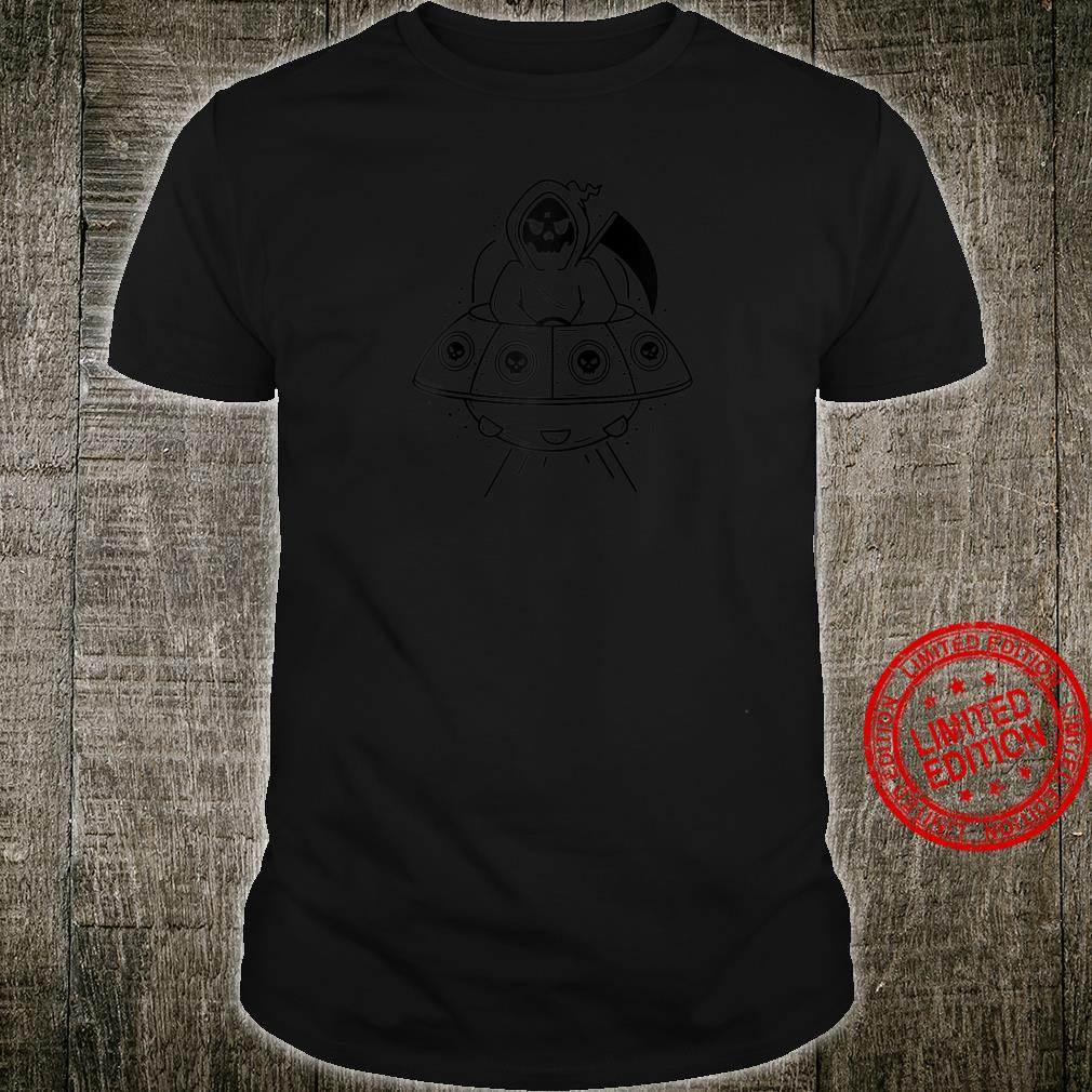Funny Grim Reaper Riding UFO Spaceship Shirt