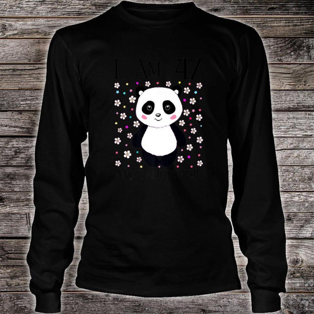 Happy 47th Birthday Bambootiful Panda Girl I am 47 Years Old Shirt long sleeved