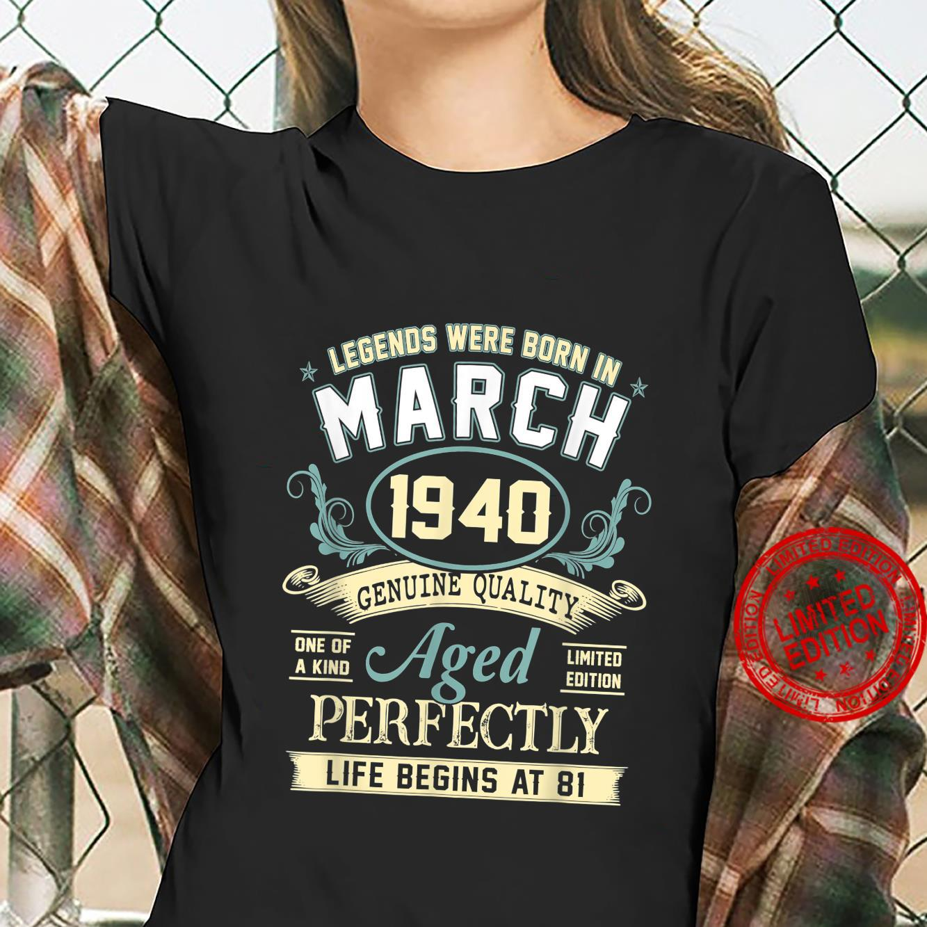 March 1940 81st Birthday 81 Year Old Shirt ladies tee