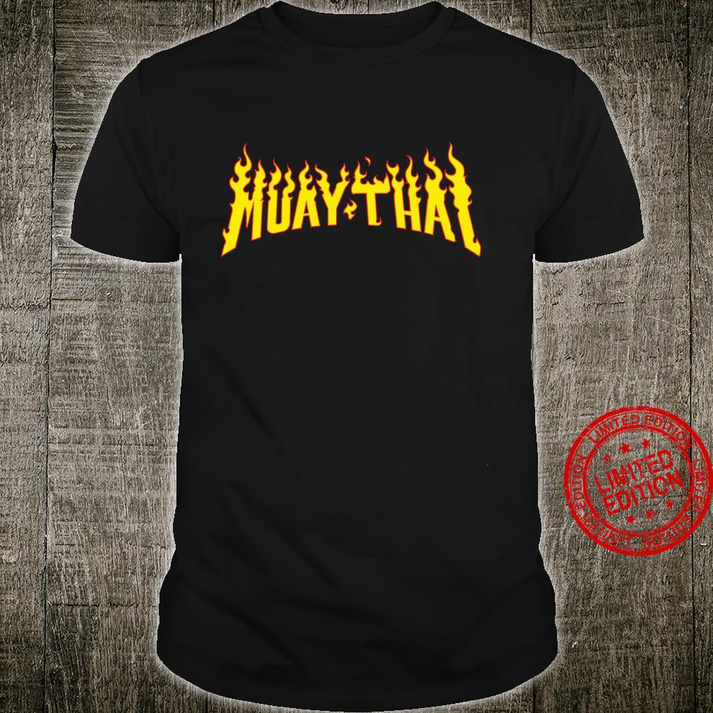 Muay Thai Thai Boxing Flames Vintage Tattoo MMA Design Shirt