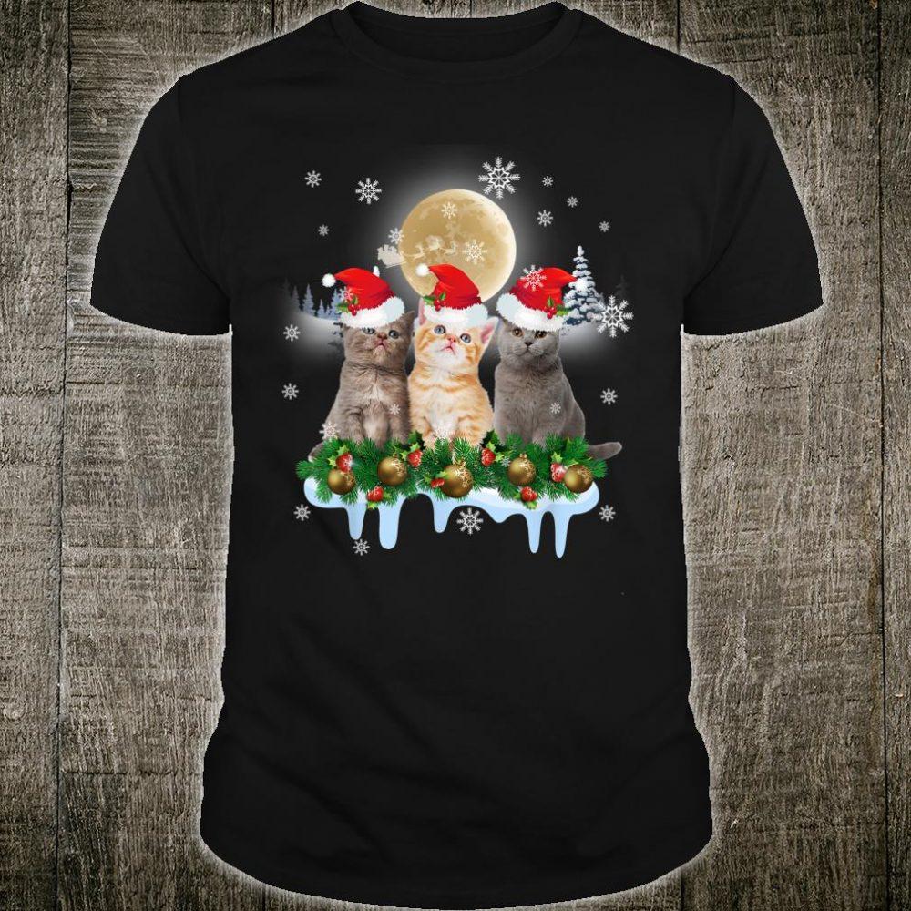 Ugly Christmas Cat Santa Hat Lights Xmas Shirt