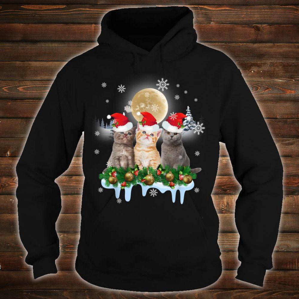 Ugly Christmas Cat Santa Hat Lights Xmas Shirt hoodie
