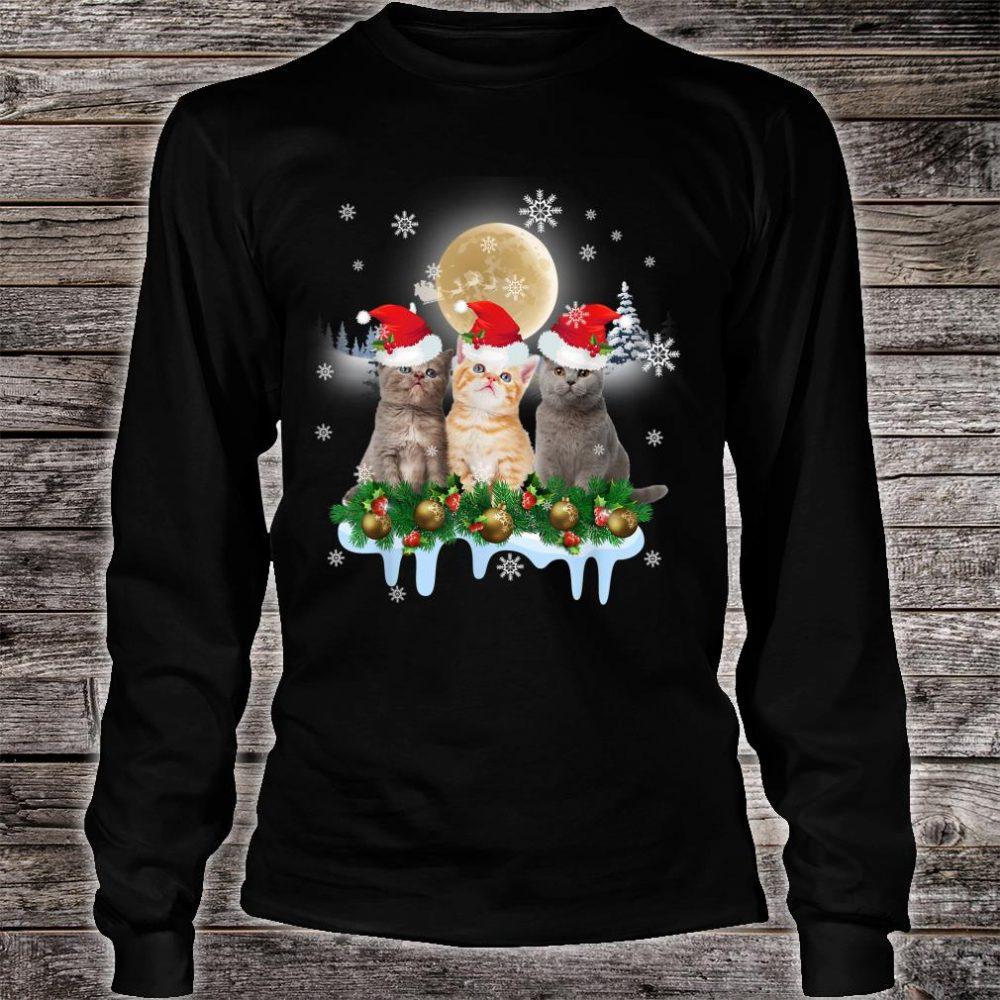 Ugly Christmas Cat Santa Hat Lights Xmas Shirt long sleeved