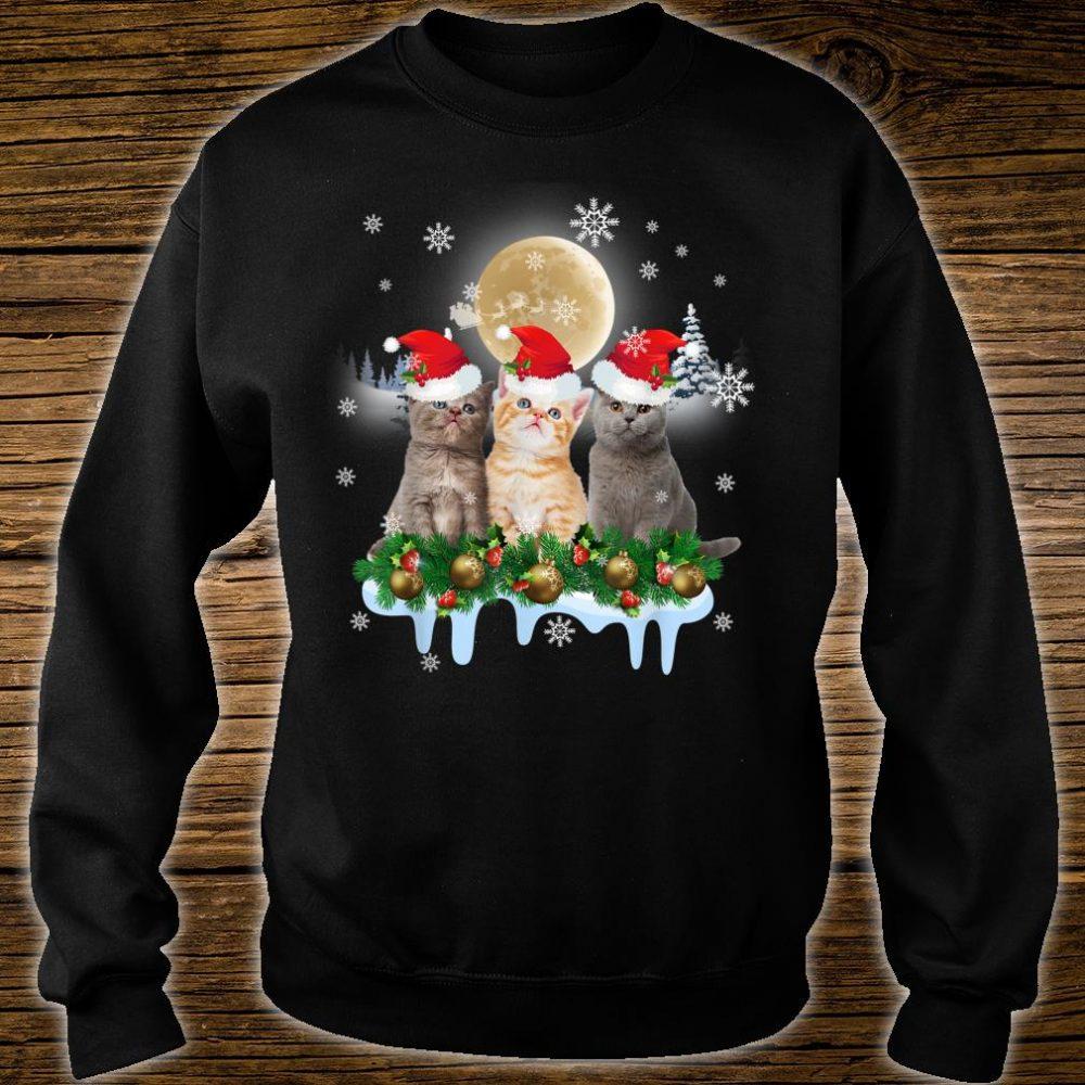 Ugly Christmas Cat Santa Hat Lights Xmas Shirt sweater