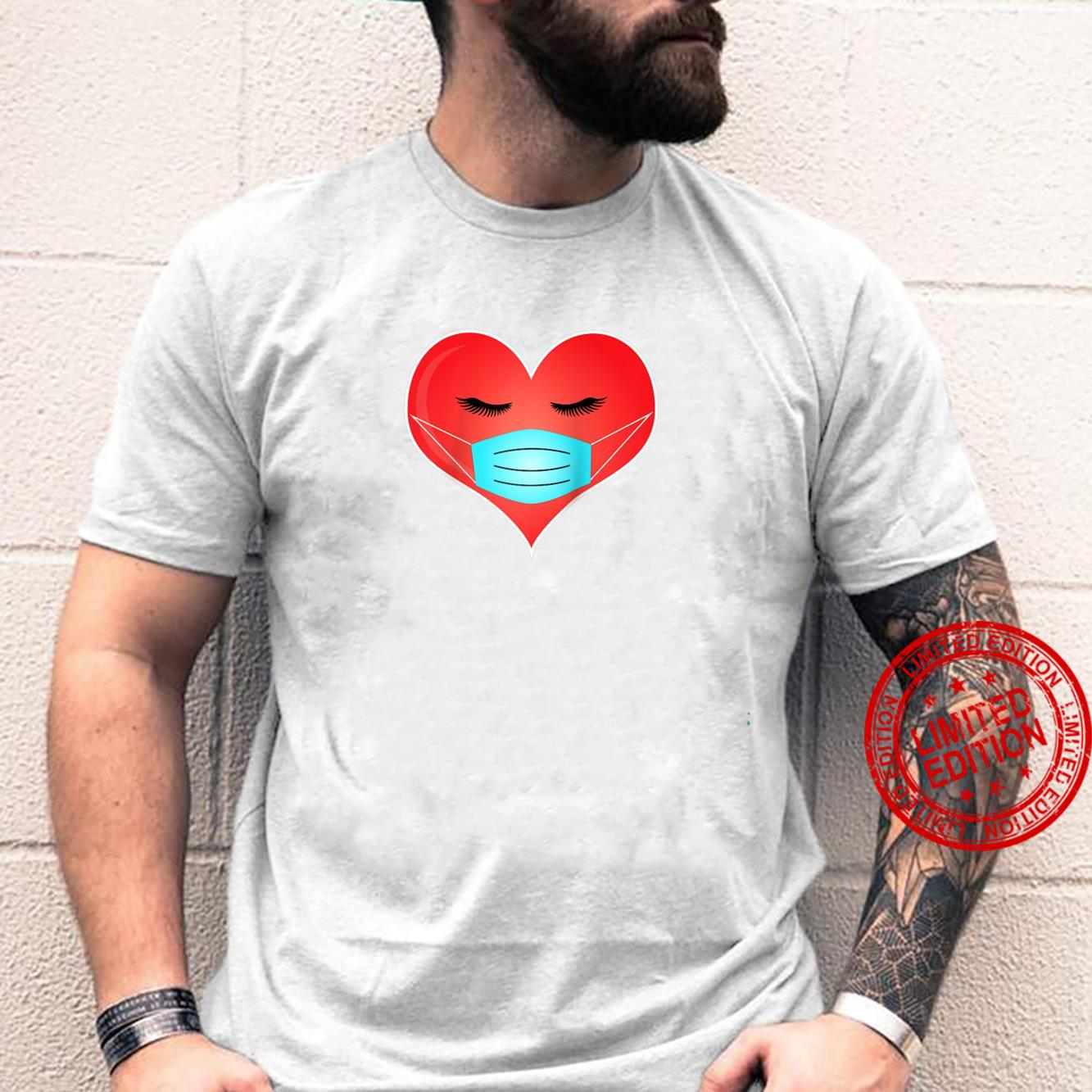 Valentine's Day Cute Heart Wearing a Mask Shirt
