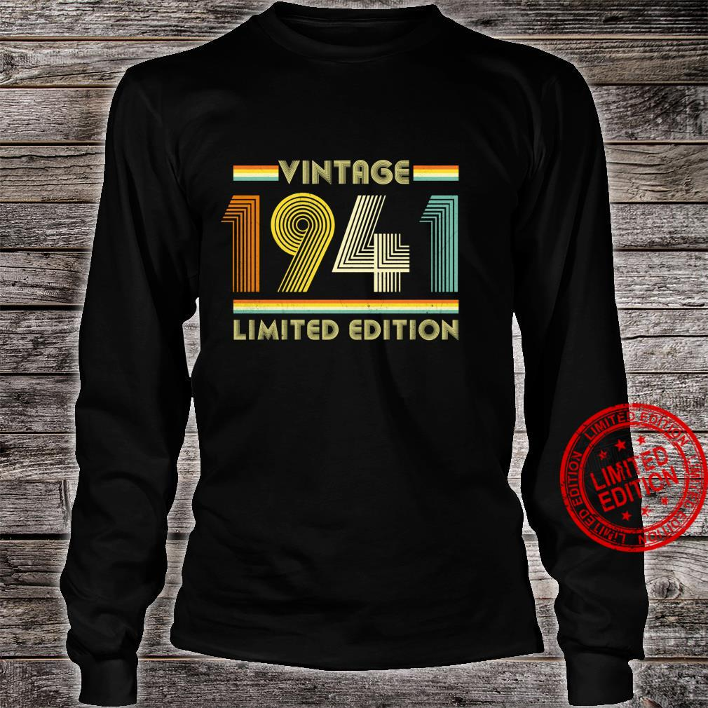 Vintage 1941 Shirt 80th Birthday for 80 Years Old Retro Shirt long sleeved