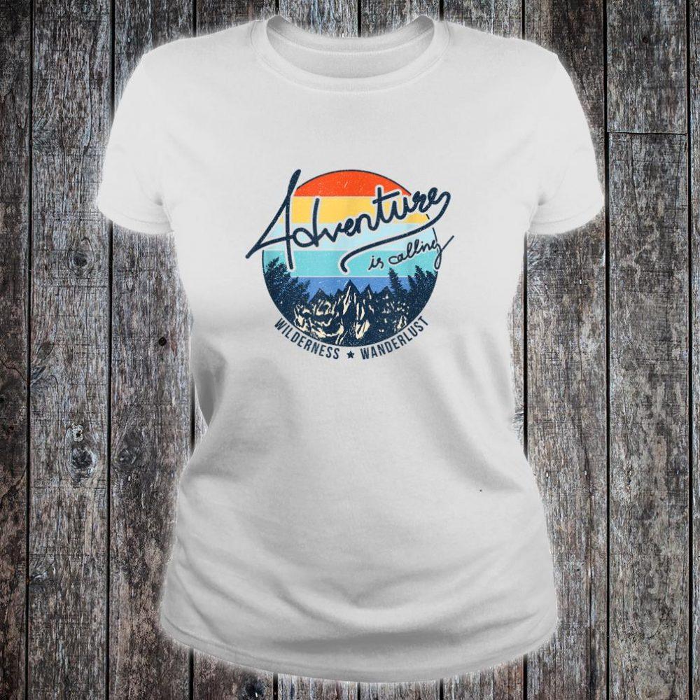 Vintage Adventure is Calling Wilderness Wanderlust Travel Shirt ladies tee