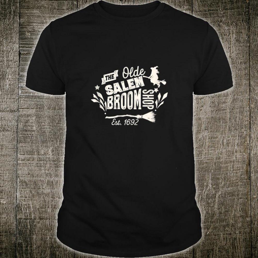 Vintage Witch Salem Broom Shop Unique Retro Halloween Shirt