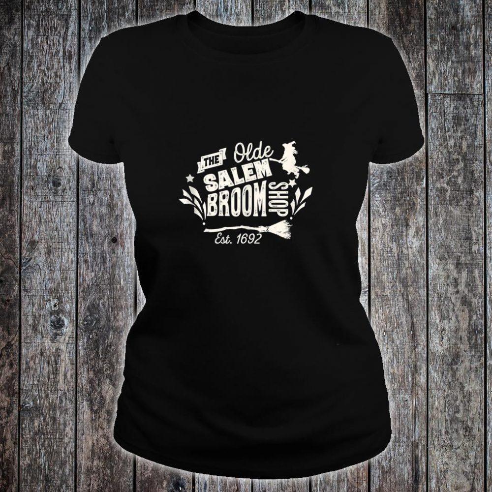 Vintage Witch Salem Broom Shop Unique Retro Halloween Shirt ladies tee