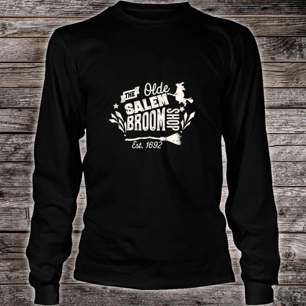 Vintage Witch Salem Broom Shop Unique Retro Halloween Shirt long sleeved