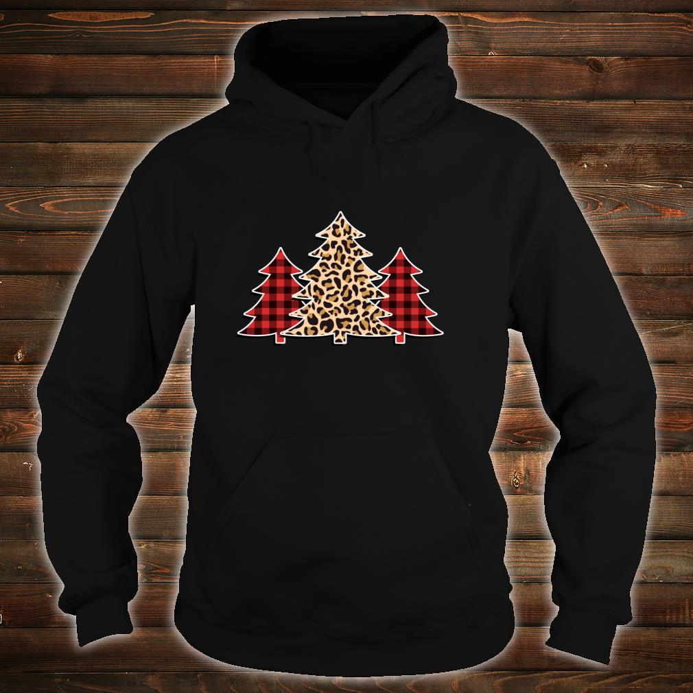 Winter Pine Trees in Leopard Print and Buffalo Plaid Shirt hoodie
