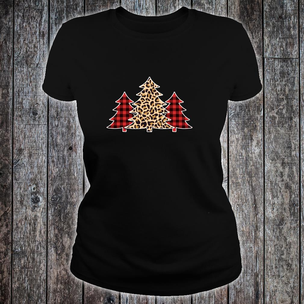 Winter Pine Trees in Leopard Print and Buffalo Plaid Shirt ladies tee