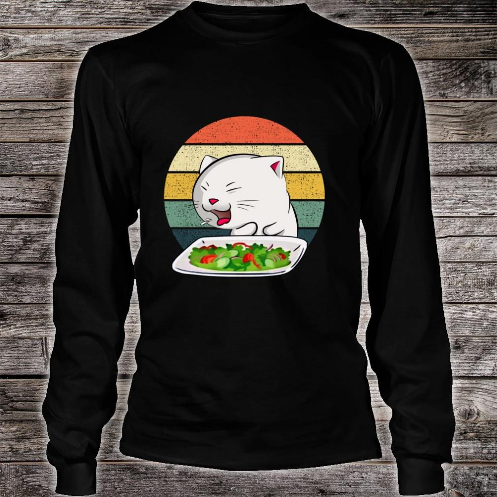 Woman Yelling At Table Dinner Cat Meme Vintage Shirt long sleeved