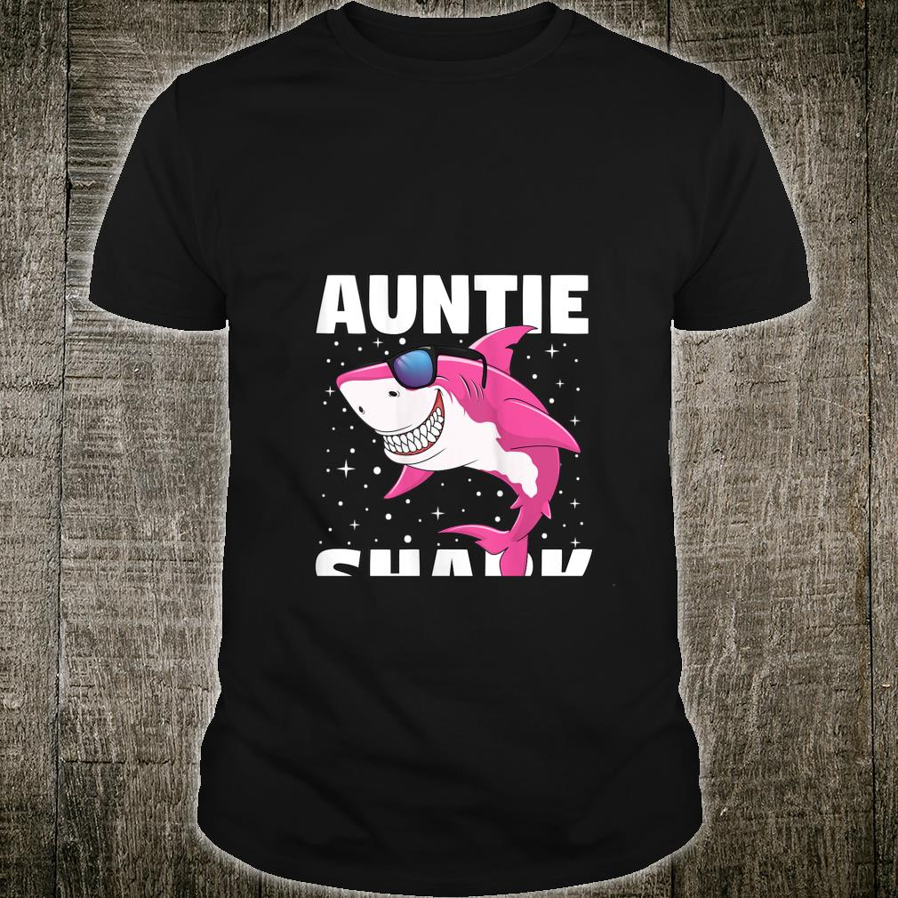 Womens Auntie Shark Shirt Aunt Shark Outfit Birthday Party Shirt