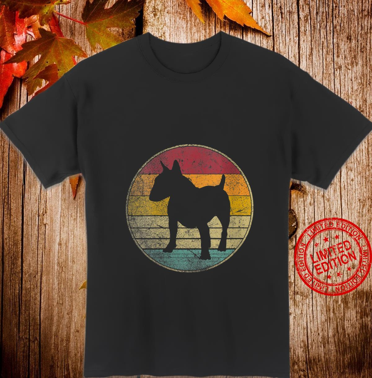 Womens Bull Terrier Dog Vintage Distressed Retro Style Silhouette Shirt