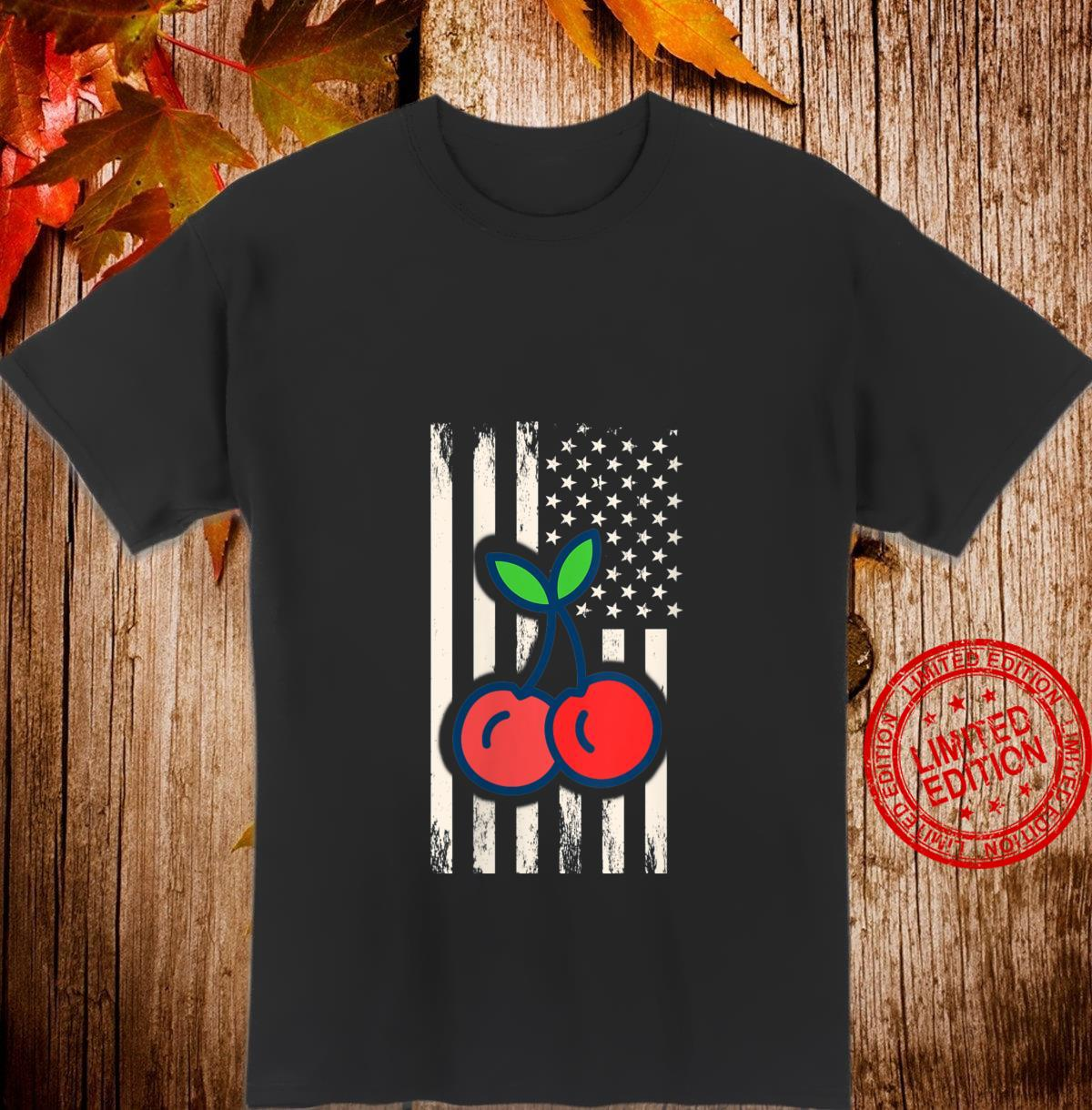 Womens Chery Fruit & Grungy USA American Flag Cherries Shirt