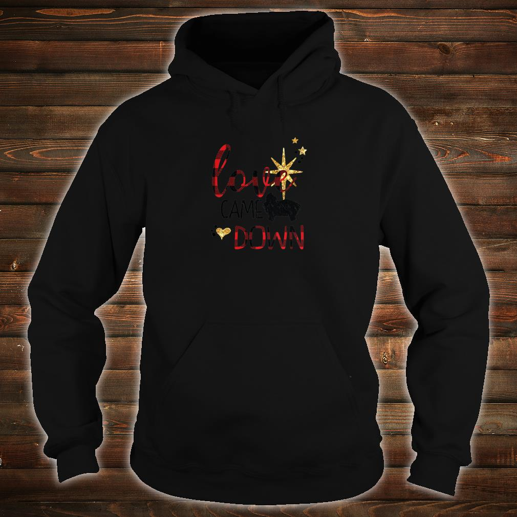 Womens Love Came Down Cute Christmas Baby Jesus Buffalo Plaid Shirt hoodie