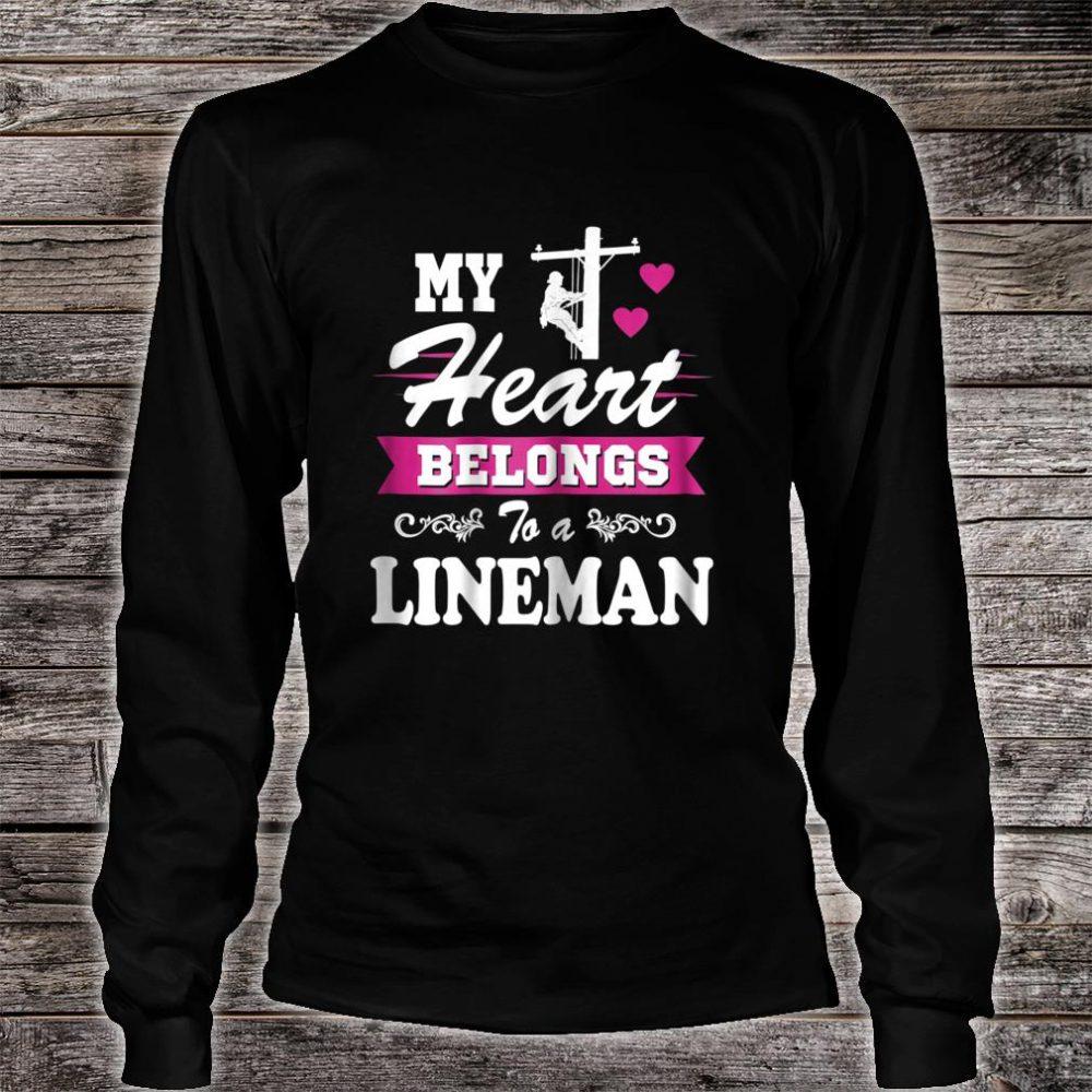 Womens My Heart Belongs to a Lineman Shirt Wife Or Girlfriend Shirt long sleeved