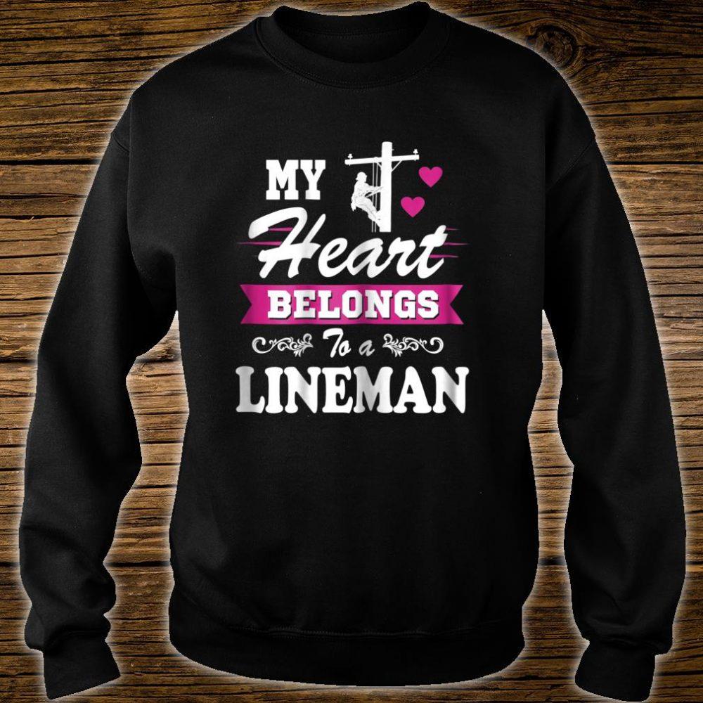 Womens My Heart Belongs to a Lineman Shirt Wife Or Girlfriend Shirt sweater