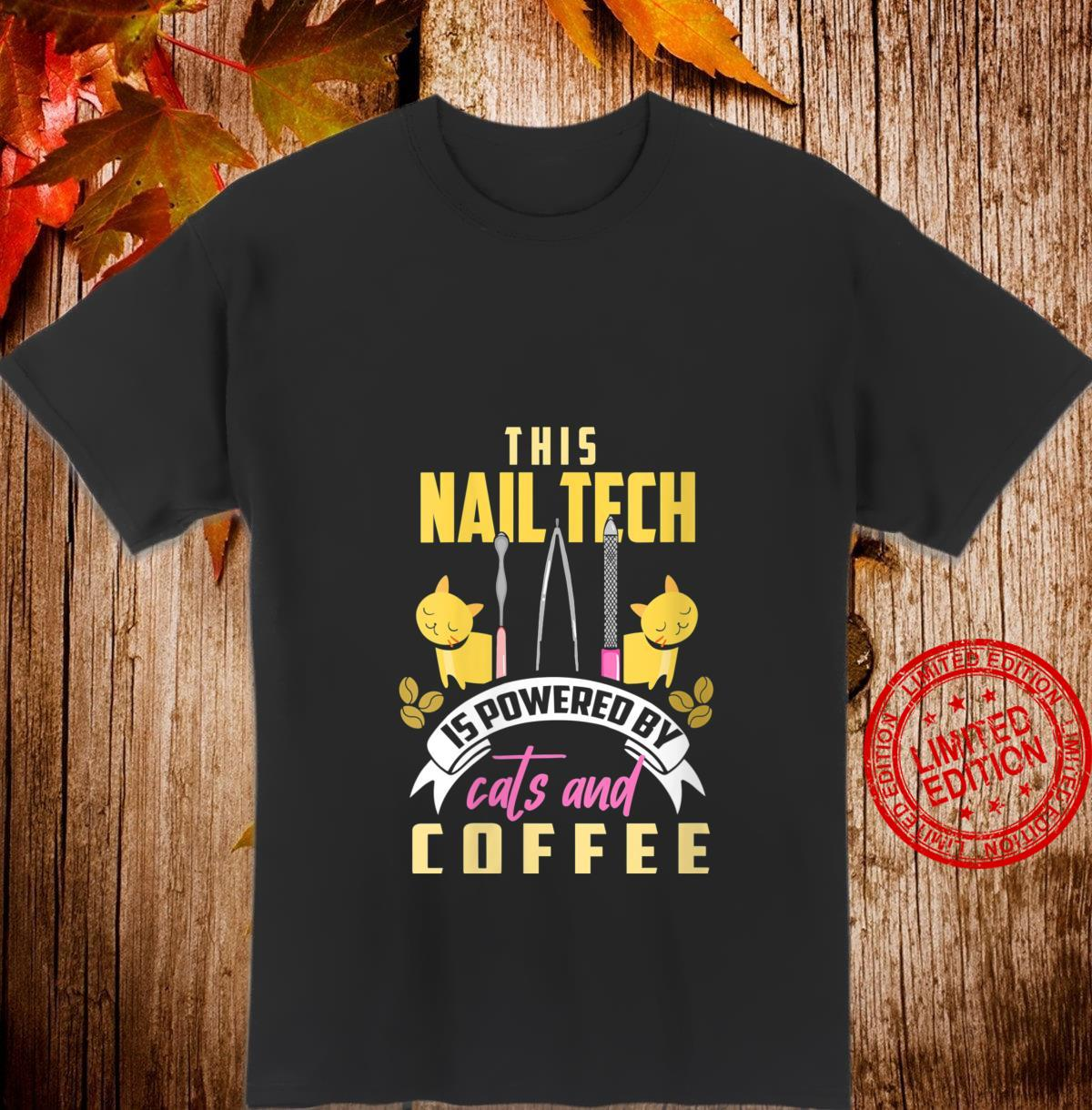 Womens Nail Tech Shirt Cats and Coffee Manicurist Shirt