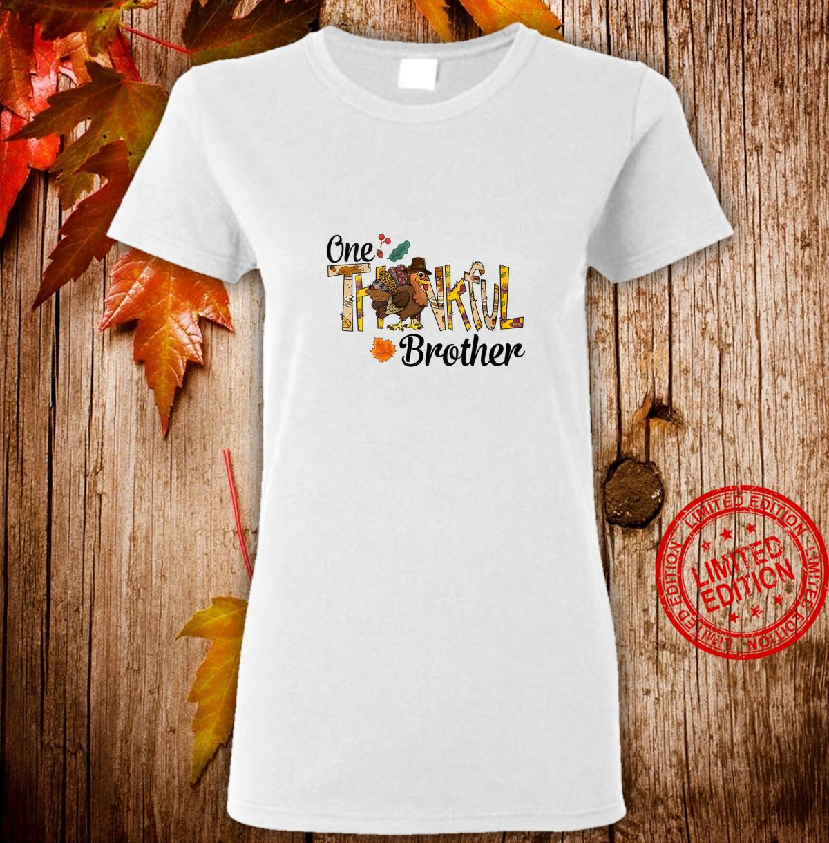 Womens One Thankful Brother Thanksgiving Matching Turkey Shirt ladies tee