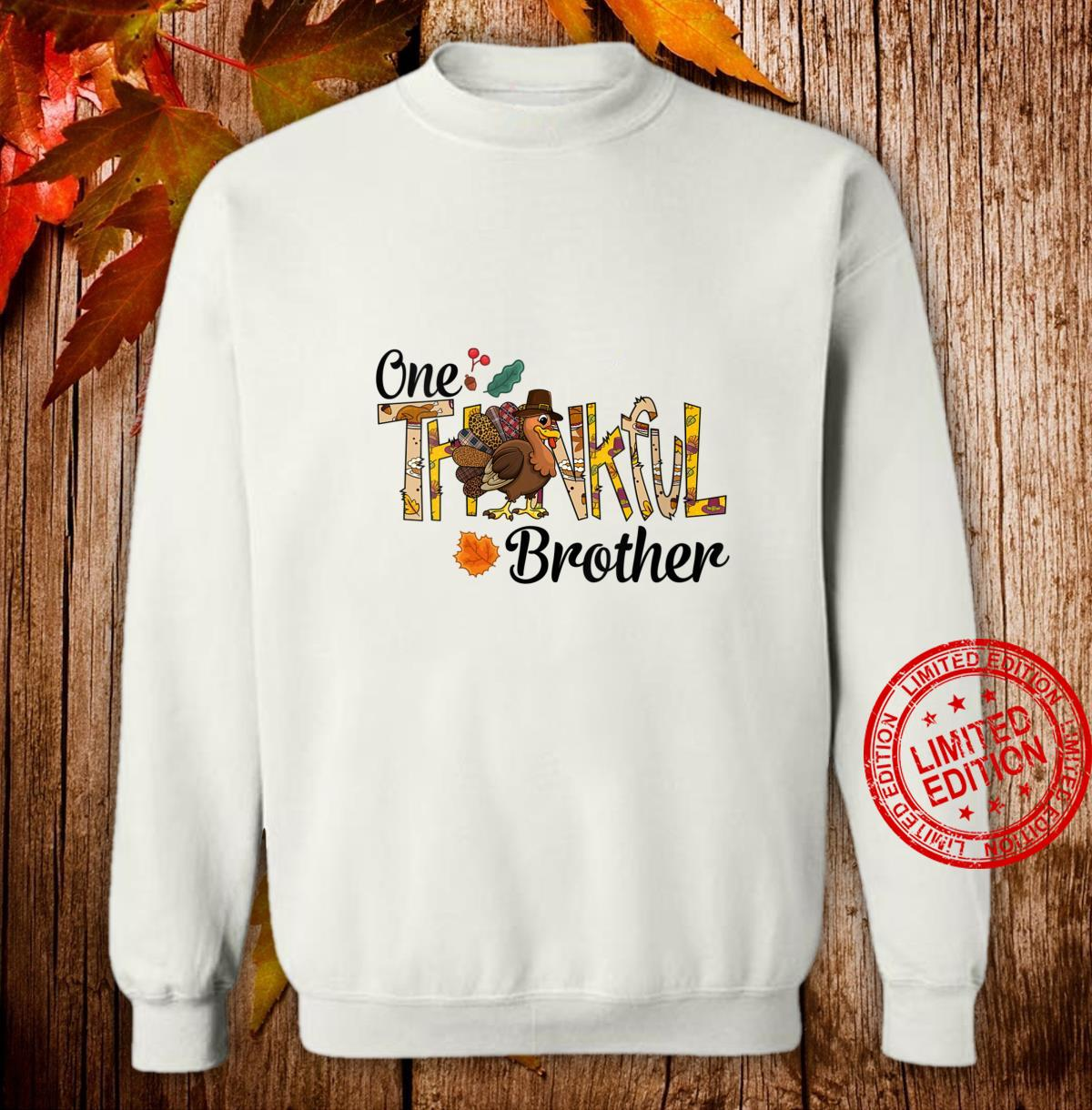 Womens One Thankful Brother Thanksgiving Matching Turkey Shirt sweater