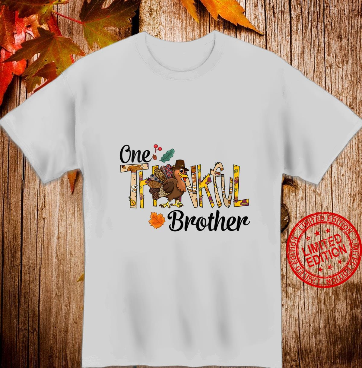 Womens One Thankful Brother Thanksgiving Matching Turkey Shirt