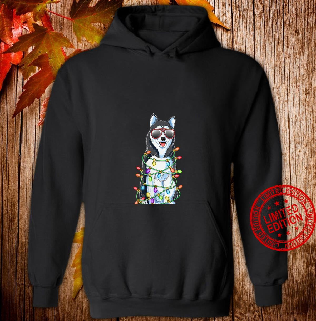 Womens Siberian Husky Christmas Tree Lights Santa Xmas Dog Shirt hoodie