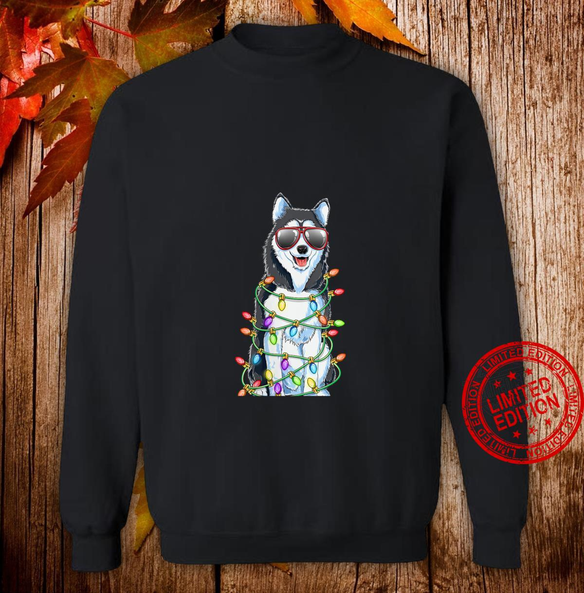 Womens Siberian Husky Christmas Tree Lights Santa Xmas Dog Shirt sweater