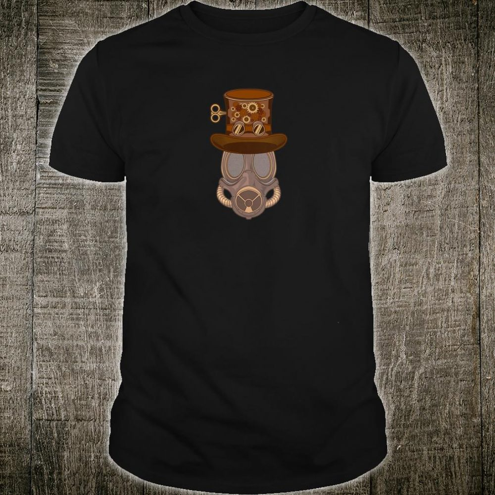 Womens Steampunk Mask with Victorian Top Hat with Goggles & Gears Shirt