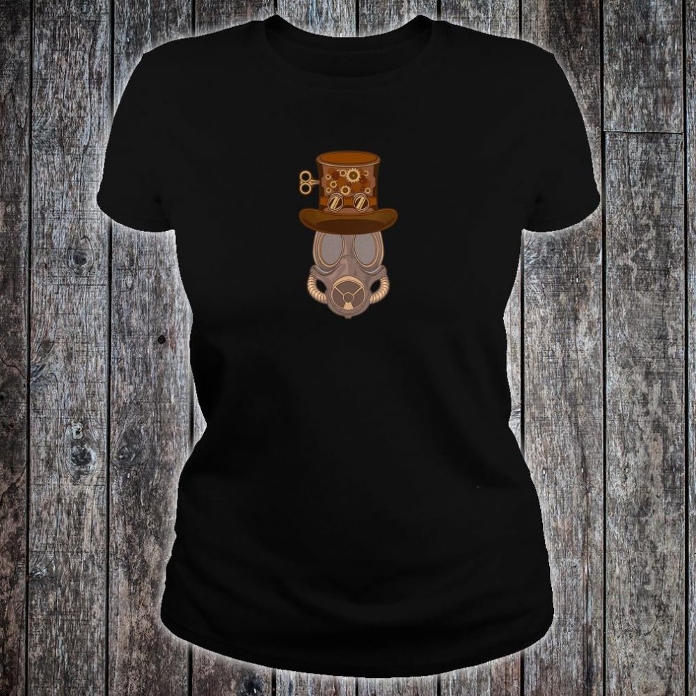 Womens Steampunk Mask with Victorian Top Hat with Goggles & Gears Shirt ladies tee