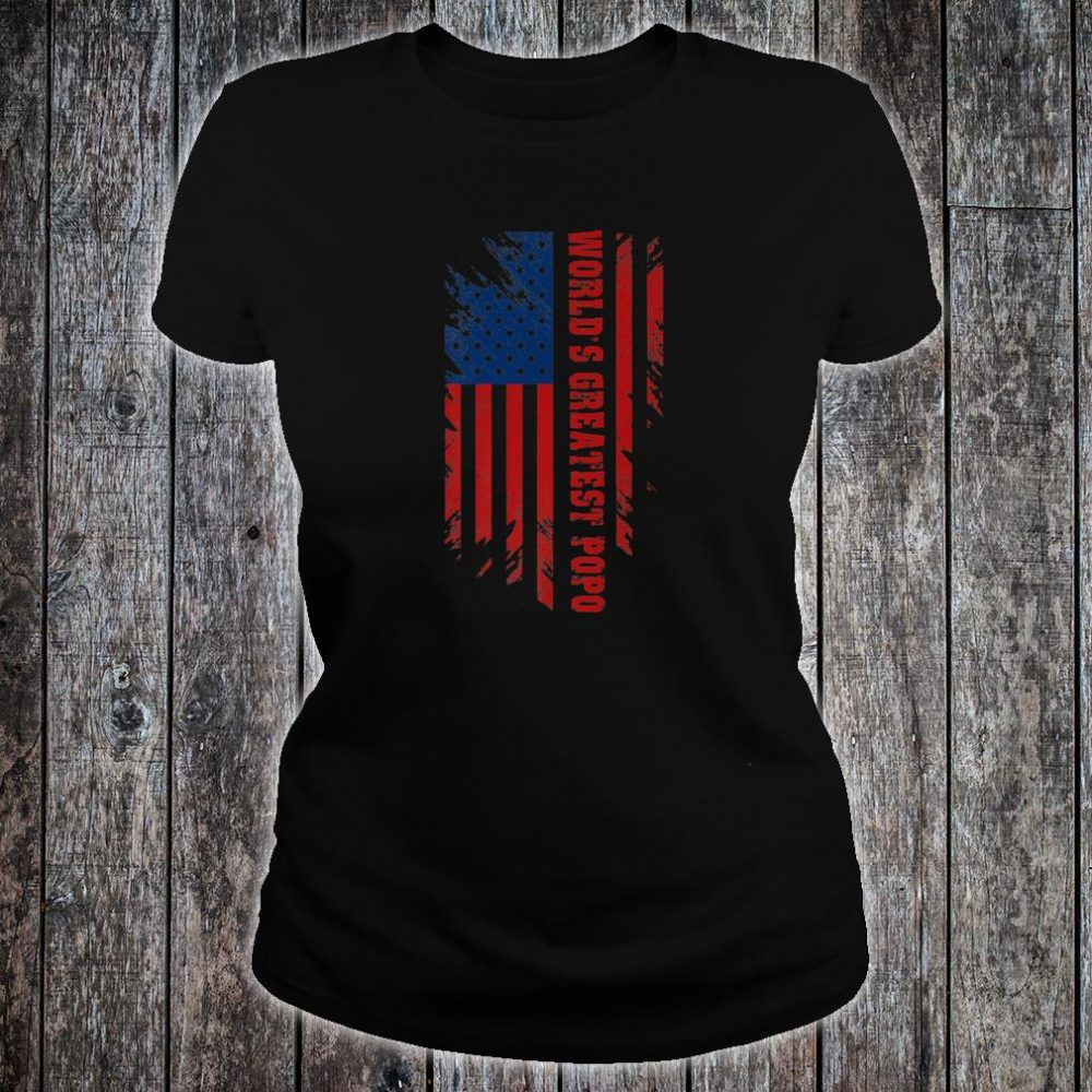 World's Greatest Popo American Flag Father's Day Shirt ladies tee