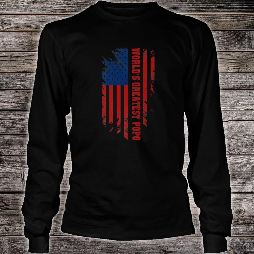 World's Greatest Popo American Flag Father's Day Shirt long sleeved