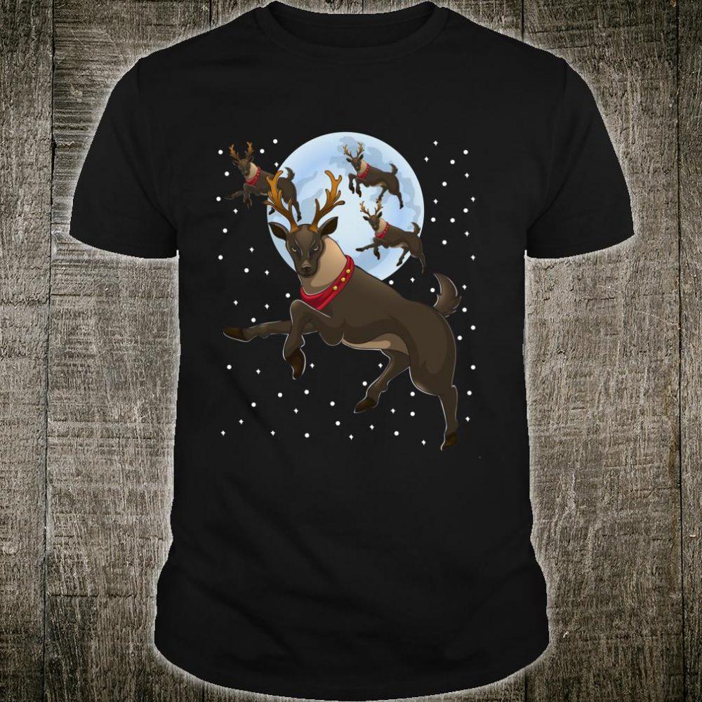 Xmas Moon Christmas Flying Reindeer Shirt