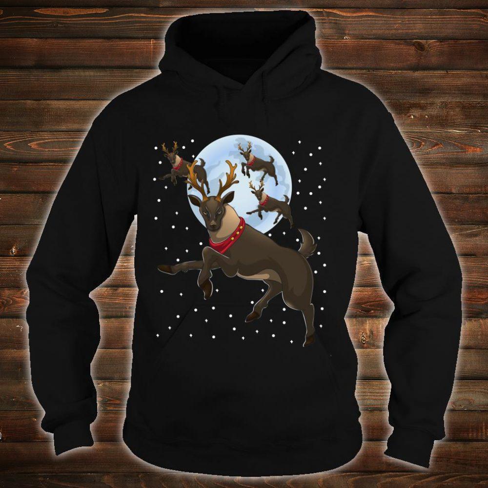 Xmas Moon Christmas Flying Reindeer Shirt hoodie