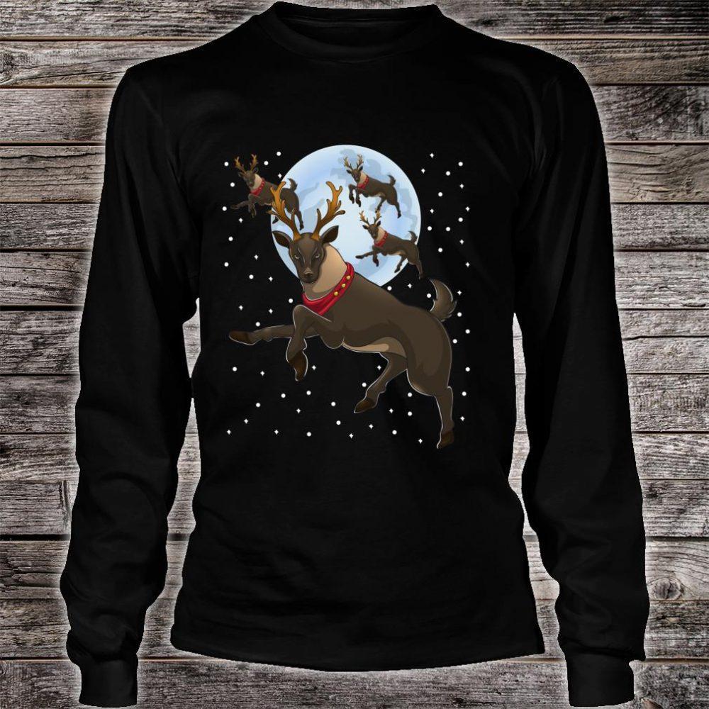 Xmas Moon Christmas Flying Reindeer Shirt long sleeved