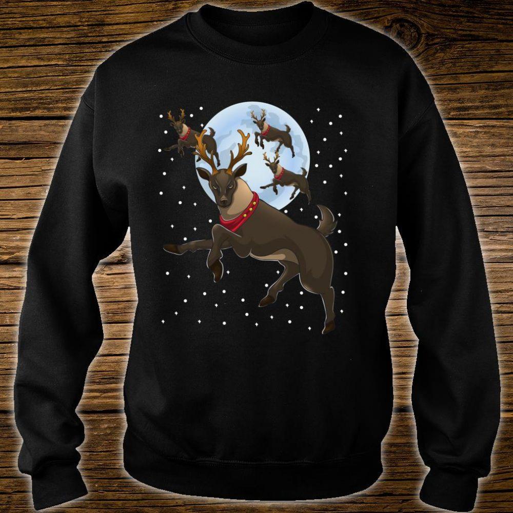 Xmas Moon Christmas Flying Reindeer Shirt sweater