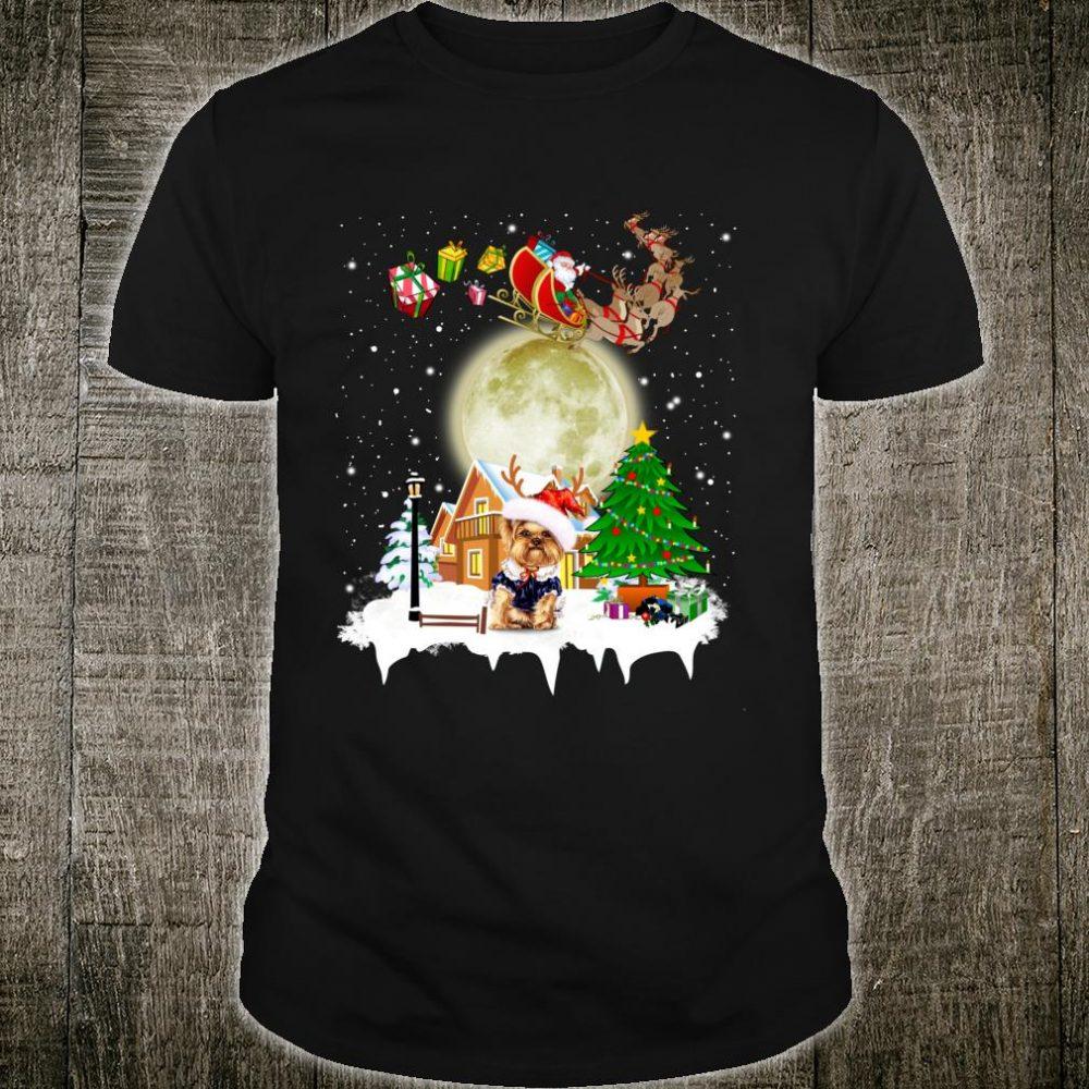 Yorkie Reindeer Christmas Lights Dog Riding a Santa Shirt