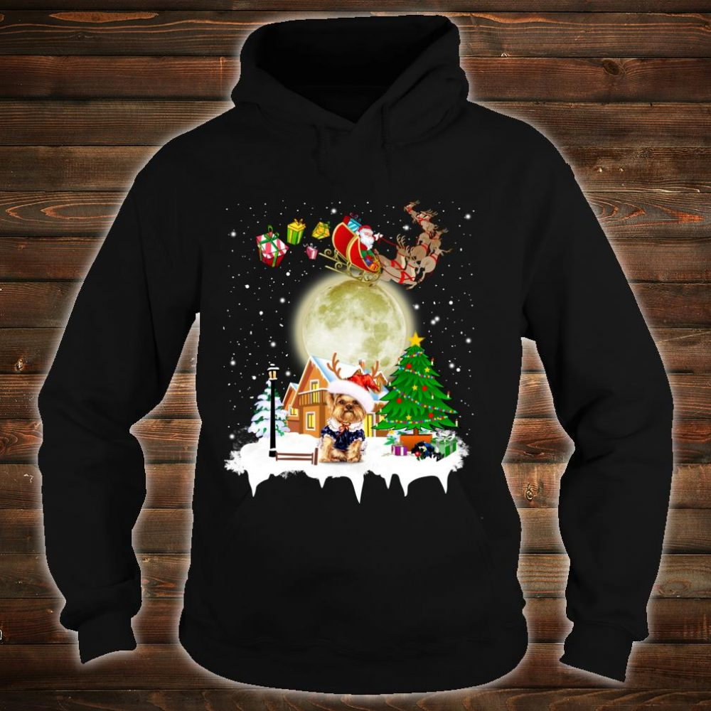 Yorkie Reindeer Christmas Lights Dog Riding a Santa Shirt hoodie