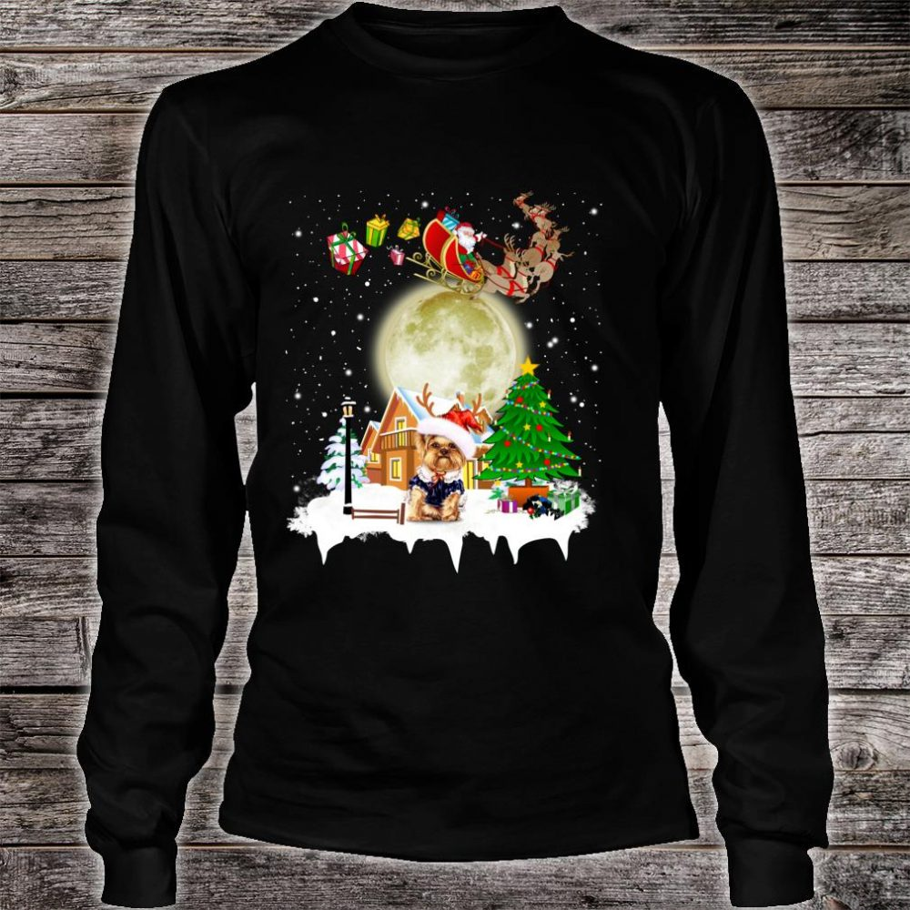 Yorkie Reindeer Christmas Lights Dog Riding a Santa Shirt long sleeved
