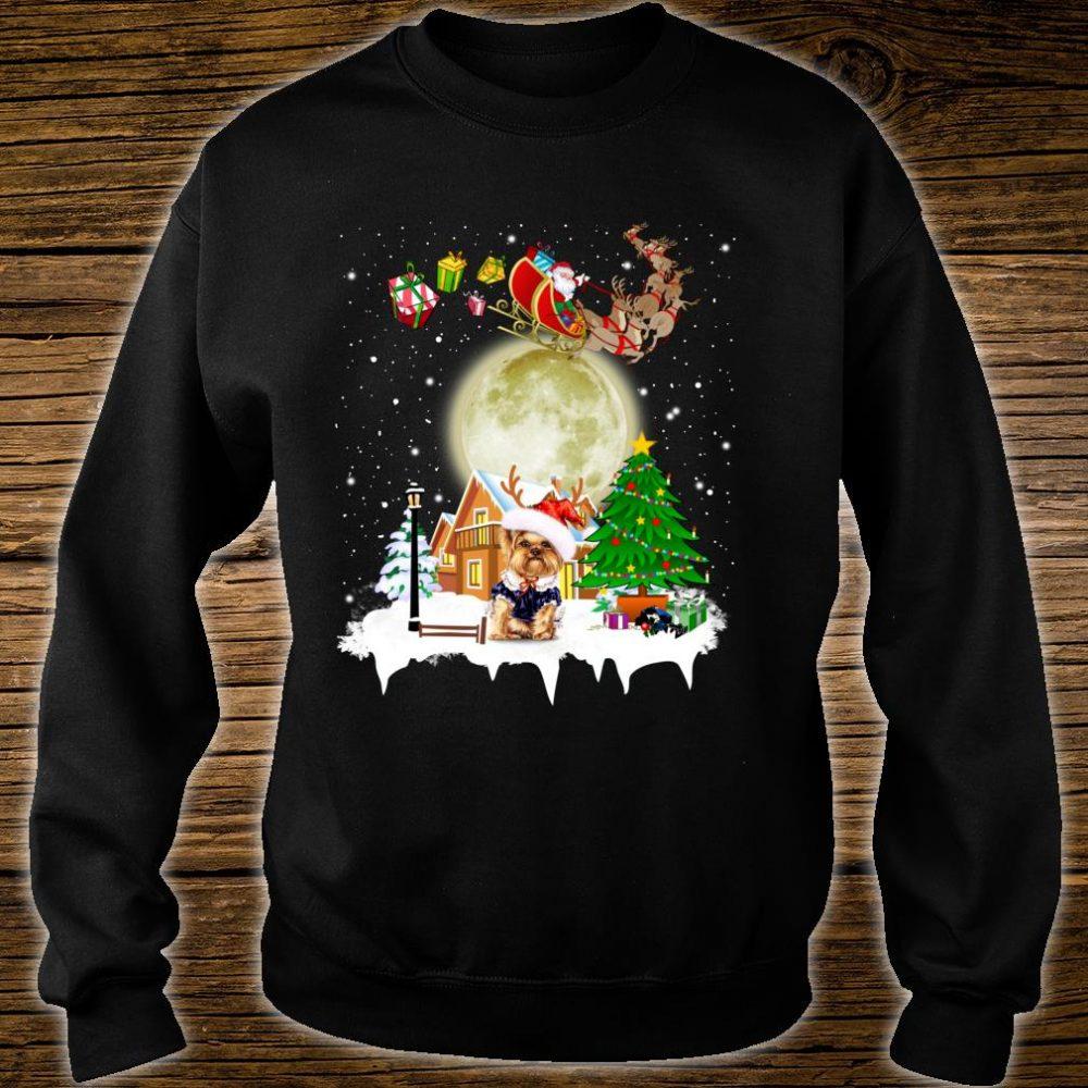 Yorkie Reindeer Christmas Lights Dog Riding a Santa Shirt sweater
